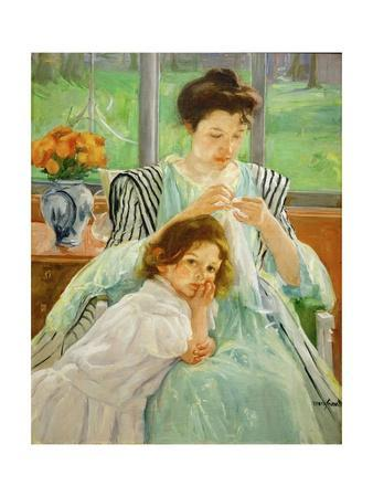 Young mother sewing, 1901 Canvas,92,4 x 73,7 cm.