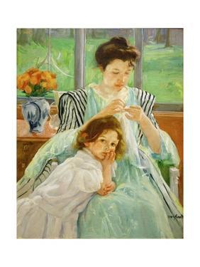 Young mother sewing, 1901 Canvas,92,4 x 73,7 cm. by MARY CASSATT