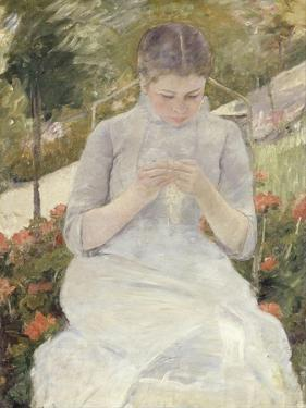 Young Woman Sewing in the Garden, 1880-1882 by Mary Cassatt