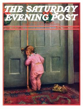 """Christmas Peek,"" Saturday Evening Post Cover, December 22, 1934 by Mary Ellen Sigsbee"