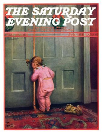 \ Christmas Peek\  Saturday Evening Post Cover December 22 1934Mary Ellen Sigsbee & Doors Posters for sale at AllPosters.com