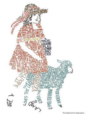 Mary Had a Little Lamb Text Art Print Poster