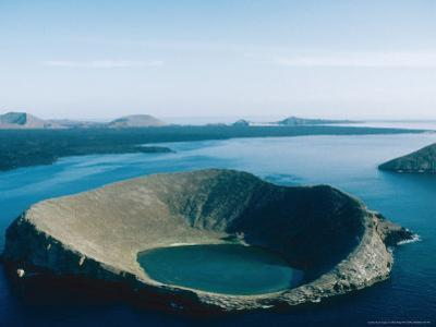 One of Bainbridge Rocks and Santiago Island, Galapagos Islands by Mary Plage