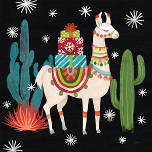 Lovely Llamas II Christmas Black by Mary Urban