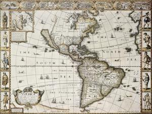 America Old Map With Greenland Insert Map. Created By John Speed. Published In London, 1627 by marzolino
