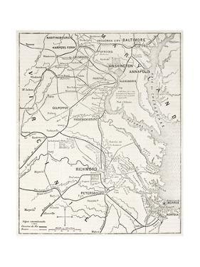 American Civil War Theater Old Map by marzolino