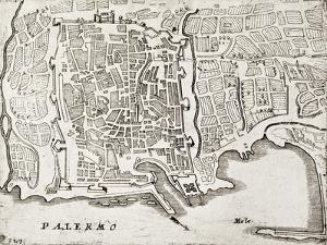 An Old Map Of Palermo, The Main Town In Sicily by marzolino