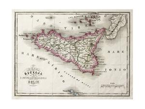 An Old Map Of Sicily And Little Islands Around It by marzolino