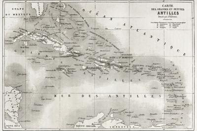 Antilles Old Map. Created By Vuillemin And Erhard, Published On Le Tour Du Monde, Paris, 1860 by marzolino
