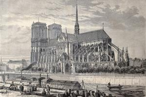 Antique Engraved Illustration Of Notre Dame De Paris, From A Drawing Of Fichot And Gaildrau by marzolino
