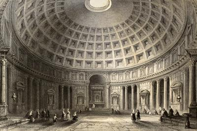 Antique Illustration Of Pantheon In Rome, Italy