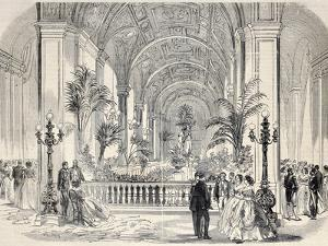 Antique Illustrtation of Tropical Garden at Hotel De Ville Interior, Paris. Original, from Drawing by marzolino