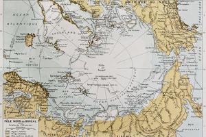 Arctic Old Map. By Paul Vidal De Lablache, Atlas Classique, Librerie Colin, Paris, 1894 by marzolino
