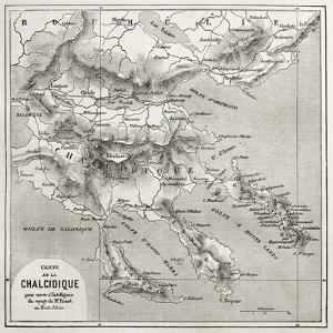 Chalkidiki Old Map, Greece. Created By Vuillemin, Published On Le Tour Du Monde, Paris, 1860 by marzolino