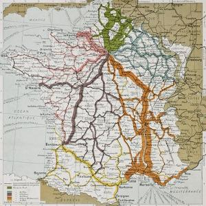 French Railways Old Map (End Of 19Th Century) by marzolino