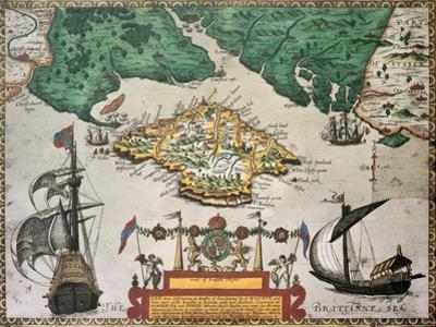 Isle Of Wight Old Map Ans Southern England. By Baptista Boazio, Published In England, 1591 by marzolino