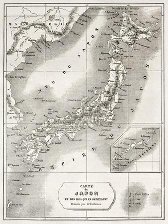 Japan Old Map. Created By Vuillemin And Erhard, Published On Le Tour Du Monde, Paris, 1860