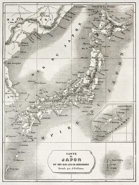 Japan Old Map. Created By Vuillemin And Erhard, Published On Le Tour Du Monde, Paris, 1860 by marzolino