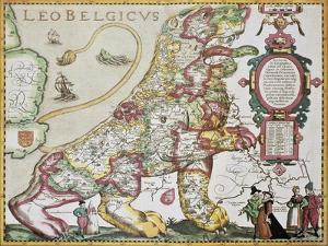 Leo Belgicus: Belgium And Netherlands Old Map In The Form Of A Lion by marzolino