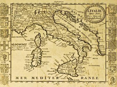 Map Of Italy Framed By Territorial Crests. May Be Dated To The Beginning Of Xviii Sec
