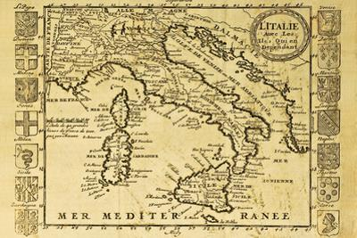Map Of Italy Framed By Territorial Crests by marzolino