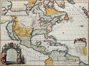 North America Old Map. Created By Louis Hennepin, Published In Amsterdam, 1698 by marzolino