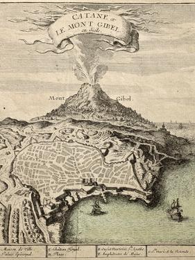 Old French Engraved Illustration Showing The City Of Catania, Sicily, At The Foot Of Mount Etna by marzolino