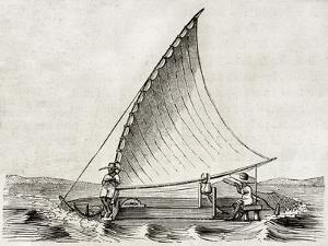 Old Illustration Of A Jangada, Traditional Fishing Boat Used In Northern Region Of Brazil by marzolino