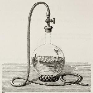 Old Illustration Of Laboratory Equipment For Water Boiling Under Vacuum by marzolino
