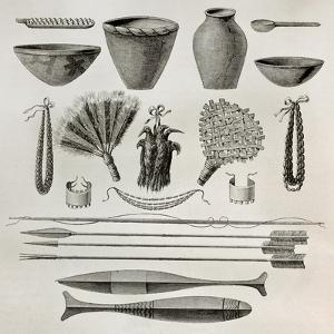 Old Illustration Of Natives Antis Pottery, Weapons And Ornaments, Peru by marzolino
