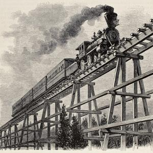 Old Illustration Of Train Crossing Wooden Trestle Bridge Along Union Pacific Railroad by marzolino