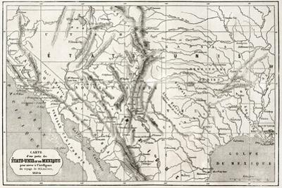 Old Map Of Northern Mexico And South-Western Usa by marzolino