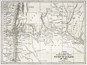 Old Map Of South-American Region Between Santiago And Buenos Aires by marzolino