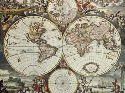 Old Map Of World Hemispheres. Created By Frederick De Wit, Published In Amsterdam, 1668 by marzolino