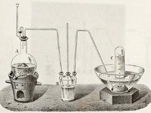 Old Schematic Illustration Of Laboratory Apparatus For Oxygen Production by marzolino