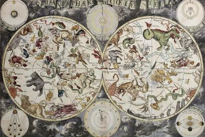 Old Sky Map Depicting Boreal And Austral Hemispheres With Constellations And Zodiac Signs