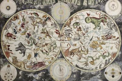 Old Sky Map Depicting Boreal And Austral Hemispheres With Constellations And Zodiac Signs by marzolino