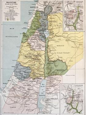 Palestine Tribes Old Map With Jerusalem Insert Maps by marzolino