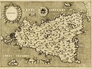 Sicily Old Map, May Be Approximately Dated To The Xvii Sec by marzolino
