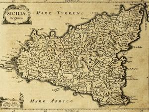 Sicily Old Map, May Be Approximately Dated To The Xviii Sec by marzolino