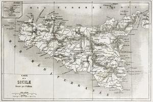 Sicily Old Map With Stromboli Isle Insert Map by marzolino