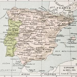 Spain Between 1808 And 1814 Old Map by marzolino