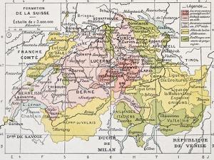 Switzerland Historical Development Old Map by marzolino