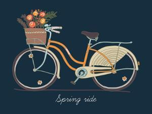 Cute Vector Retro Bicycle for Ladies with Basket Full of Spring Flowers | Hand Drawn Vintage Fashio by Mascha Tace