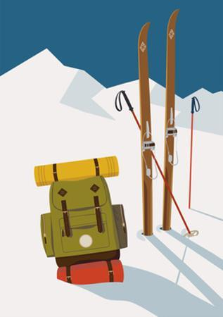 Vector Winter Themed Template with Wooden Old Fashioned Skis, Poles and Green Backpack in the Snow by Mascha Tace