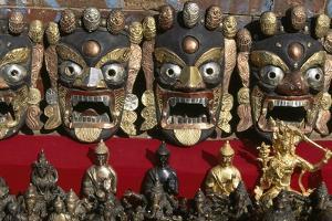 Masks and Metallic Buddha Statues, Durbar Square, Patan, Nepal