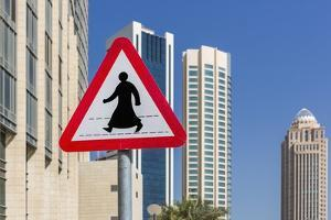 Al Dafna District (West Bay Business Quarter), Typical Pedestrian Crossing Road Sign by Massimo Borchi