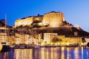 Bonifacio Citadel Seen from the Marina at Night by Massimo Borchi