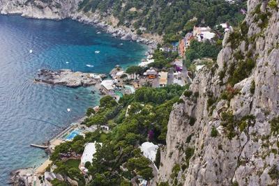 Marina Piccola and Coast from Giardini Di Augusto, Capri, Capri Island, Campania, Italy