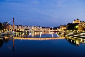 Palais Du Justice Footbridge Reflecting on the Saone by Massimo Borchi